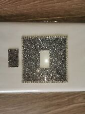 Glitter light switch cover. SILVER. Bling!! Handmade & self adhesive mrs hinch