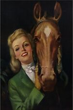 EQUESTRIAN PIN-UP GIRL HORSE ENGLISH GEAR HORSEBACK RIDING CANVAS ART PRINT BIG