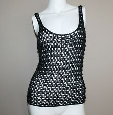 CARMEN MARC VALVO COLLECTION Black Beaded Crochet Tank Top Sz M $420