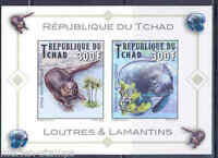 CHAD 2013 MANATEE & OTTER SET OF TWO   MINT NH IMPERF