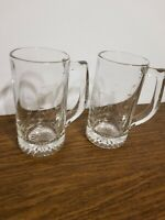 Set of 2 Etched Clear Glass Ship Nautical Beer Tankard Mugs Clipper Schooner