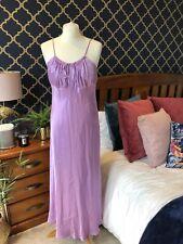 ZARA Lilac Satin Cami Slip Midi Dress LARGE BNWT Bow Pleat Detail