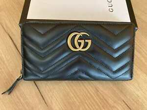 GUCCI Women Wallet Marmont Leather Purse Zip around Gold GG Wallet GG Authentic