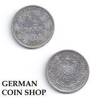1/2 Mark SILBER 1905 - 1919 A D E F G J - bitte auswählen - Kaiserreich
