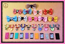 🌺Littlest Pet Shop LPS 4 Pc Accessories Set-Bow Collar Phone Earrings +Gift Bag