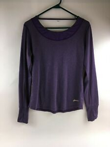 Asics Purple Long Sleeve Logo Shirt Top Size Large Women's Activewear