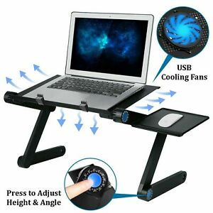 Folding Laptop Stand Riser Tray Table Desk Adjustable Portable Aluminium Bed DJ