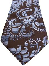TAYLOR & WRIGHT Mens Tie Brown - Light Blue Paisley ULTRA SKINNY
