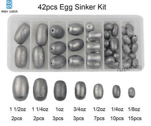 42pcs/Assorted Egg Sinker Weight Fishing Lead Sinkers Olive Bass Casting Weight