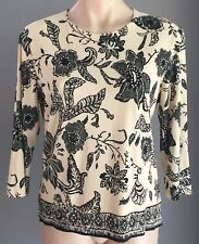 Retro Cream & Black Floral Print 3/4 Sleeve Stretch Top Size S (10/12)