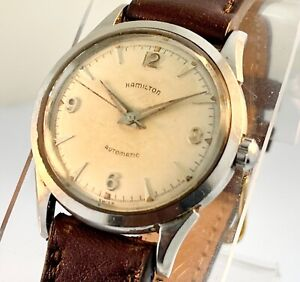 VTG 1950s HAMILTON K-500 AUTOMATIC Stainless Steel WATCH: RUNS WELL, KEEPS TIME!