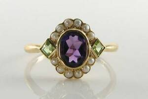 SUFFRAGETTE 9CT 9K YELLOW GOLD AMETHYST PERIDOT PEARL ART DECO INS CLUSTER RING