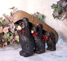 Family Black Bears Canoe Trip Great Cabin Decor Stone Resin Figure