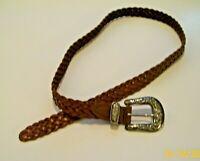 Vintage Women's Braided Woven Leather Belt Brown Silvertone Embossed Buckle