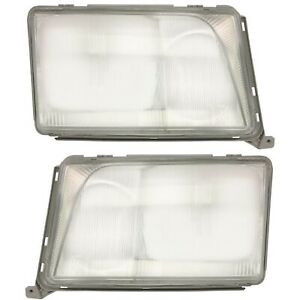 MERCEDES BENZ E W124 HEADLIGHT LAMP GLASS FRONT SET LEFT AND RIGHT NEW PAIR