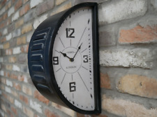 Double Sided Station Clock Black Wall Hanging Vintage Rustic Battery Home Decor