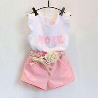 2pcs Kids Girls Fashion Sleeveless White Blouse+Pink Shorts Summer Clothes Sets