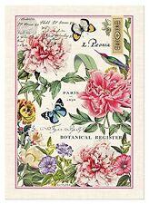 New Michel Design Works Cotton Peony Kitchen Tea Towel Floral Butterflies