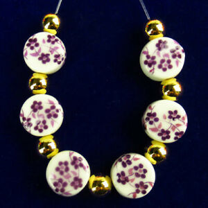 6Pcs/Set White Ceramics Purple Flower Round Pendant Bead 10x5mm R55862