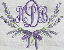 Lavender Bow MONOGRAMMED Embroidered Cloth 6 White Napkins Beautiful