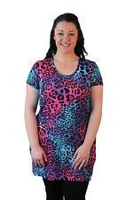 Plus Size Ladies Leopard Print Neon Short Sleeve Animal Tunic Top