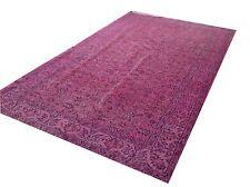 """8'4"""" x 4'11""""  Vintage pastel pale pink blue ushak overdyed rug carpet tapis"""