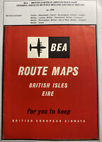 England BEA Airways 1958 Brochure Routes Map Services Between Ireland & GB