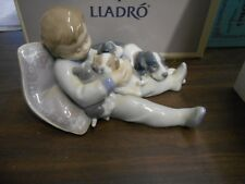 Lladro-Sweet Dreams-#1535-Boy and puppies asleep-Private Collection Mint In Box