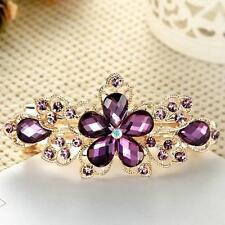 Fashion Women's Lady Crystal Rhinestone Flower Barrette Hair Clip Clamp Hairpin
