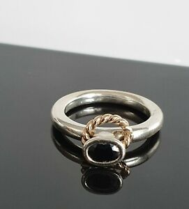 Pandora Black CZ Halo Reminder Gold Twist Rope Silver Ring 190830 Free Post RARE