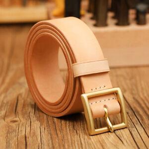 Handmade Custom made Vegetable tanned leather cowhide belt brass buckle 35/38mm