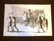 Incisione rame del 1851 L'ingresso di Napoleone Bonaparte in Milano nel 1796