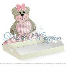 Vassoio Contenitore Teddy Bear Rosa Portaconfetti Nascita Battesimo Confetti