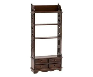 Etagere Bookcase Wooden Plate Rack Mahogany 4 Drawer Cabinet