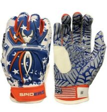 New listing Spiderz Adult HYBRID Batting Gloves Pair USA Flag NEW Sz XL Web Palm
