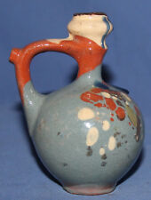 VINTAGE SMALL HAND MADE PAINTED REDWARE POTTERY PITCHER