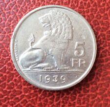 Belgique - Léopold III - rare monnaie de 5 Francs 1939 VL - tranche non inscrite