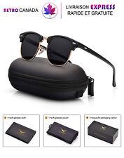 Lunette de soleil Clubmaster pour Homme Polarisées UV 400 Protection avec étui