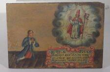 Antique Spanish Colonial Oil on Panel Painting Santos Religious Inscription
