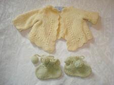 Vintage Doris Harwood Original Handmade Knit Doll Yellow Sweater & Green Booties