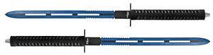 "2pc 25.5"" Dual Weld Twin Master Sword Machete Set w/ Nylon Sheath 440 Steel Blue"