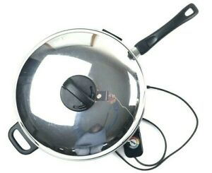 "Meyer Stainless Steel Fully Immersible Electric Skillet & Lid 12"" Tested Works"