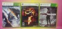 XBOX 360 GAME Lot Working! Tomb Raider Resident Evil 5 Metal Gear Rising Complet