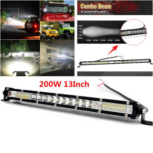1Pcs 13inch 200W LED Work Light Bar Universal Offroad Car SUV Driving Lights