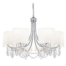 Searchlight 1058-8CC Nina Chrome 8 Light Fitting Crystal Beads & Fabric Shades