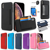 For iPhone Xs Max XR X Wallet 3 Cards Holder Rubber Protective Hybrid Case Cover