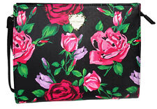 Betsey Johnson Clutch Faux Leather Black Floral Cosmetic Wristlet Purse Bag NEW