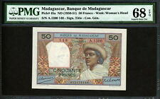 Madagascar 1950-1951, Comores 50 Francs, P45a,PMG 68 UNC Top Best rated,Only 1