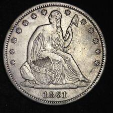 1861-S Seated Libert Half Dollar CHOICE VF+/XF FREE SHIPPING E330 RFT
