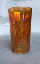 CARNIVAL GLASS TUMBLER WITH ETCHED HULA GIRL
